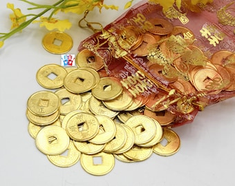 Ancient coins Gold Chinese Feng Shui lucky