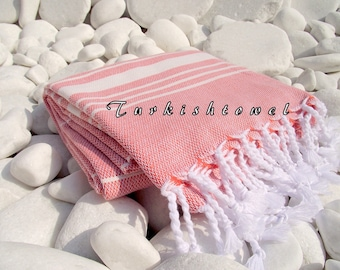 Turkishtowel-Soft-High Quality,Hand Woven,Cotton Bath,Beach,Pool,Spa,Yoga,Travel Towel or Sarong-Ivory Stripes on Powder Peach