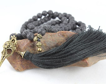 Raven Skull Mala Necklace, 108, Skull Necklace, Mala Beads, Black Mala, Tassel Necklace, Wiccan Jewelry, Wicca, Kali Mala, Goth Jewelry