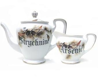 SALE, Damaged - Poison Strychnine Teapot and Arsenic Creamer Set