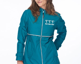 Sigma Sigma Sigma, Tri Sigma Sorority Jacket, Wind and Waterproof Rain Jacket, Tri Sig Sorority Rain Coat
