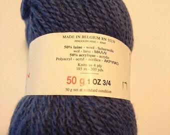 knit - crochet/10 balls 50% fine wool Penguin / blue / made in Belgium