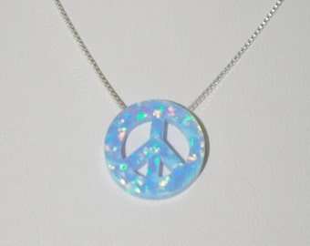 13mm Light Blue OPAL PEACE Sign Symbol Charm with Sterling Silver 925 BOX Chain Necklace - BalliSilver - Free Shipping Worldwide
