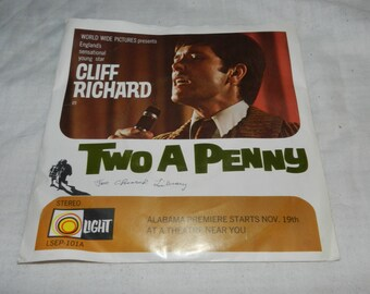 Cliff Richard Vintage 45 record with picture sleeve - From the Billy Graham film Two a Penny with songs: Red Rubber Ball, Questions...  43-4