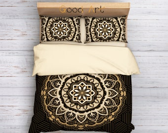 Brown Mandala Bedding, Mandala Bedding Set, Boho Bedding, Vintage duvet cover set, Chaby Chic bedding, Hippie Bedding, Brown Bedding