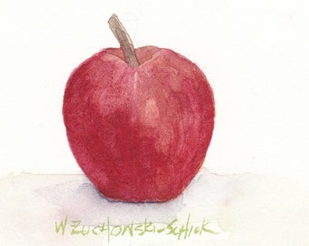 Red Apple Original Watercolor