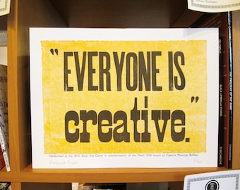 "CreativeMornings/Buffalo NY Commemorative Hand Letterpressed Print ""Everyone is Creative"""