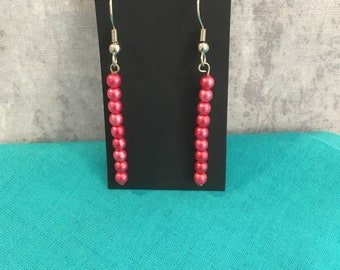 Hot pink imitation pearl earrings