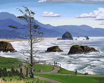 Cannon Beach from Ecola State Park, OR (Art Prints available in multiple sizes)