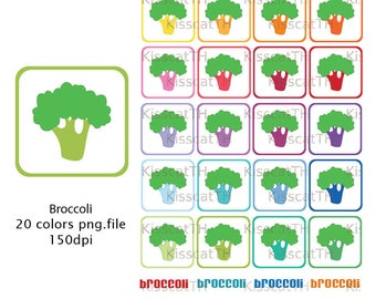 Vegetables Clipart, Vegetables Stickers, Printable Graphics, Veggy icons, Broccoli PNG, Digital Scrapbooking, Broccoli Symbol Stickers
