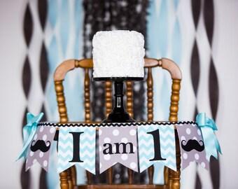 1st BIRTHDAY BOY / I Am One Highchair Banner / I am 1 High chair Banner / Little Man birthday / First birthday banner / Highchair banner
