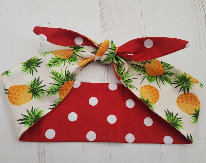 50s Reversible Tropical Hawaiian Pineapple And Red Polka Dot Head Scarf - Wired or Not - Fruit Summer Paradise Beach Holiday Vacation Island
