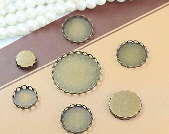 37 % Rabatt auf Antik Bronze roh Messing Spitze Kante Kapsel Cabochon / Cameo Halterungen 10 ~ 35mm