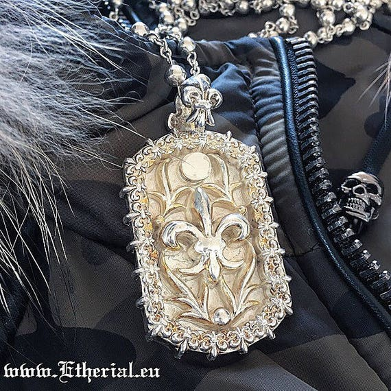 Etherial Jewelry - Rock Chic Talisman Luxury Biker Custom Handmade Artisan Pure Sterling Silver .925 Handcrafted Fleur De Lis Badass Dog Tag