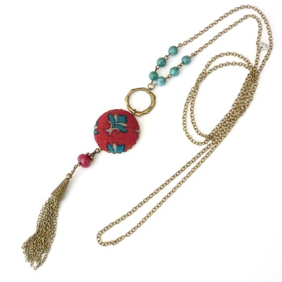 Liberty necklace, Tassel necklace, Long boho necklace, Silk jewelry, Long tassel necklace, Free shipping Canada, Silk necklace, Boho chic