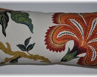 Celerie Kemble for Schumacher- Hot House Flowers -Designer Decorative Lumbar Pillow Cover- Throw Pillow- 22x12 ready to ship SALE