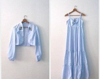 Vintage 70s sundress set / denim blue chambray maxi Festival sundress / Hippie Embroidered sundress with matching jacket