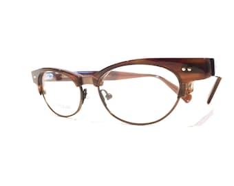Vintage Jean Lafont Constance / Cateye Combination / Rootbeer Woodgrain Frames / VLV Eyeglasses /NOS