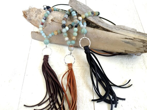 Leather Tassel Necklace, Bohemian Hippie Necklace, Amazonite Tassel Necklace, Casual Boho Chic Jewelry, Leather Jewelry