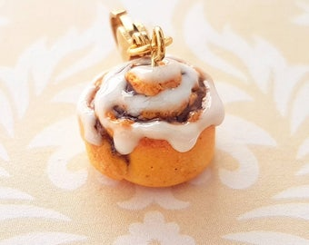 Cinnamon Bun Charm- Cinnamon Roll Miniature Food Jewelry - Polymer Clay Food Jewelry