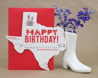 Texas Birthday Greeting Card - Letterpress