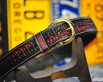 "The Officer - a 1.75"" wide custom leather belt - Unisex, Mens or Ladies Custom Handmade Leather Belt"