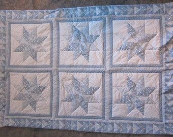 Light Blue Eight-Point Star (Lap Quilt)- QuiltsbyShirley