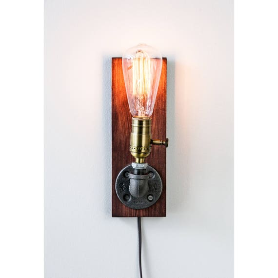 Plug in Wall Sconce Lamp/Rustic decor/Sconce lamp/Industrial Lighting/Steampunk light/Housewarming/Gift for men/Bedside lamp/Farmhouse Decor