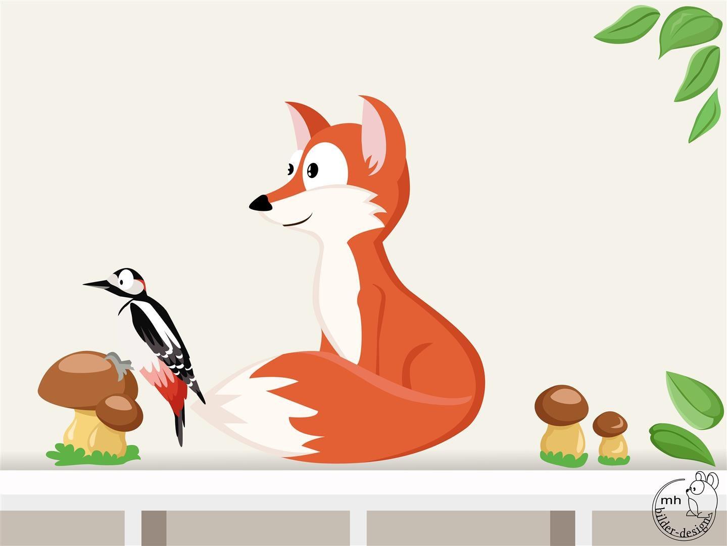 Wandtattoo Fuchs Waldtiere I. Kinderzimmer Specht