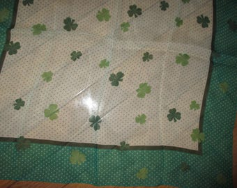 Vintage green shamrock and dots scarf St Patricks Day accessory