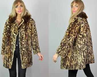 Premium Vintage 60s Brown & Leopard Print Faux Fur Coat