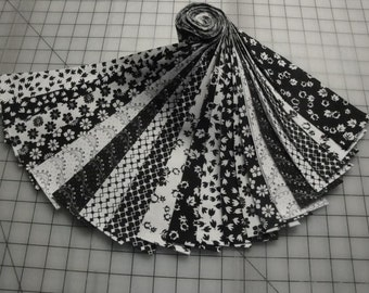 "Jelly Roll-""Black & White Prints"" by Choice Fabrics"