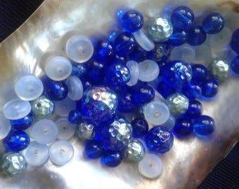 Vintage Blue Glass Bead Assortment