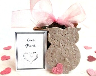 20 Owl Flower Pot Wedding Favors - PLantable Paper Baby Shower Favors - Blush Pink and more - Free Shipping