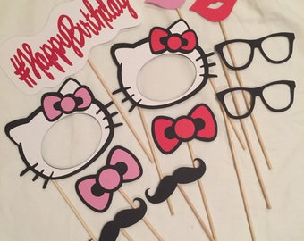 Hello Kitty Photo Booth Props, Hello Kitty Party, Hello Kitty Photo Booth Set, Hello Kitty Birthday Party Decorations, Hello Kitty Gift Idea