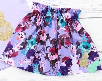 Purple floral ruffle skirt - girls skirt, party skirt, Easter skirt, birthday skirt, cotton skirt