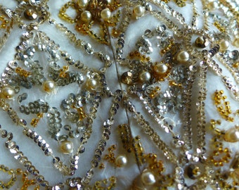 Pedro Rodriguez Vintage 1960s Mid Century Gold Silver Sequin Pearl Glass Beaded Dress Remnant, Beaded Vintage Cocktail Dress