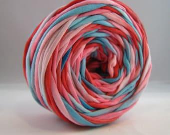T Shirt Yarn Hand Dyed-Valentine Aqua/Red/Light Pink 60 Yards, Chunky Yarn, Cotton Yarn, Jersey Yarn PInk Yarn