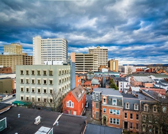 View of houses and buildings in downtown Harrisburg, Pennsylvania. Photo Print, Metal, Canvas, Framed.