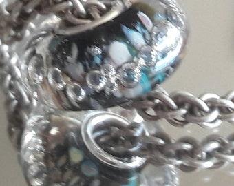 Moonlit Garden Bubbles - Big hole bead - European Charm Bead - Silver core bead.