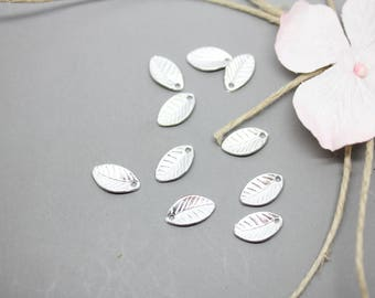 10 charms Silver Charm leaf 7x11mm-creating jewelry