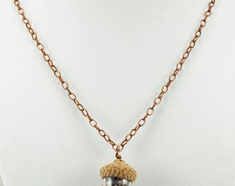 Acorn and Lavender Necklace