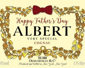 Custom Cognac Liquor Label - Happy Father's Day, Event, Occasion Graduation Congratulations Birthdays Promotions  Dirty Thirty Twenty One 21