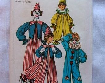 Circus Clown Jumpsuit and Hat | Child Size 10-12 | Simplicity 7162 | cut used complete vintage sewing pattern