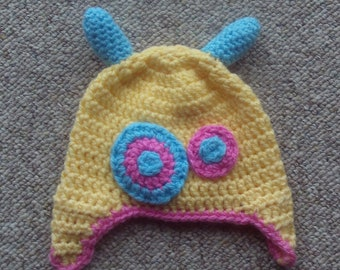 Hat,baby,monster,photo prop,photos,boys,girls,infants,crocheted,gift,shower,yellow,blue,pink,6-12 months,earflaps