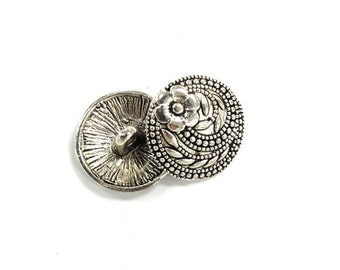 10 Buttons Silver Pewter 17mm Button Clasp Antique Silver, Button Clasp, Bracelet Buttons, Wrap Bracelet clasp - PBF322