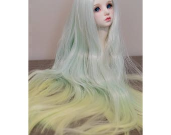 BJD handmade gradient/ ombre color wavy long wig light green & yellow