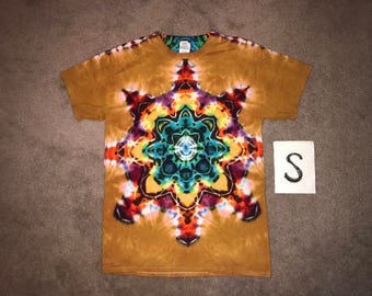 Tie Dye T-Shirt ~ Fire Mandala With Palomino Gold Background ~ i-8283 in Adult Small