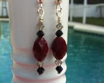 Red & Black Dangling Crystal Earrings