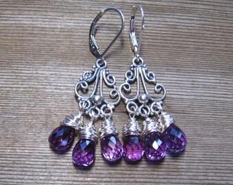 Alexandrite Chandelier Earrings,  Sterling Silver, June Birthstone, Alexandrite Jewelry, One Of A Kind